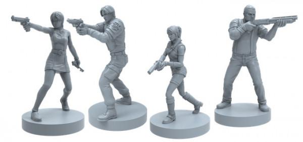 Resident Evil 2: Das Brettspiel ist ein kooperatives Survival Horror Spiel für 1-4 Spieler. Die Spieler wählen aus einer Reihe von bekannten Charakteren, ehe sie sich in die von Zombies befallenen Straßen und Gebäude von Raccoon City begeben, um dem Alptr