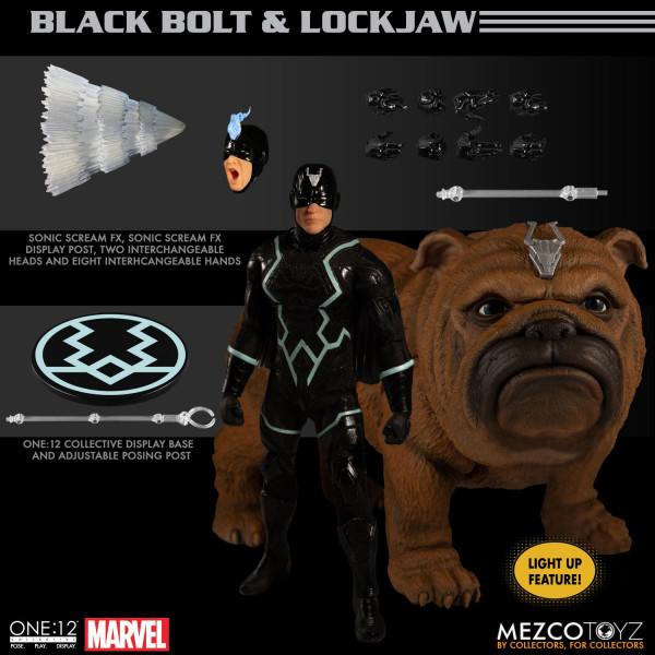 Aus Mezcos ´The One:12 Collective´-Reihe kommt dieser Pack mit 2 detailreichen PVC Actionfiguren. Sie sind ca. 17 cm groß. Black Bolt trägt echte Stoffkleidung, Lockjaw verfügt über eine eingebaute LED-Leuchtfunktion. Sie werden in einer Fensterbox gelief