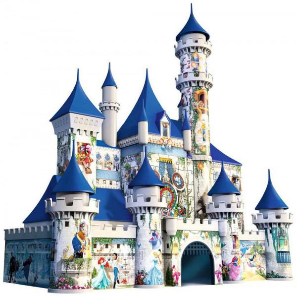 """Ravensburger 3D Puzzle """"Disney Schloss"""" - ein magischer Besuch in einer zauberhaften WeltVom Balkon winken Micky Maus und Goofy. Und dort drüben schwimmt Nemo! Auch das süße Bambi, die lustigen Dalmatiner und Mowgli aus dem """"Dschungelbuch"""" sind mit von de"""