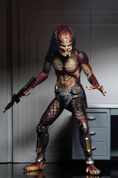Zum 2018er Blockbuster The Predator kommt diese detailreiche Actionfigur. Die Figur ist ca. 20 cm groß und wird mit weiterem Zubehör und Austauschteilen in einer Fensterbox geliefert.\n\nSie verfügt außerdem über eine LED-Leuchtfunktion in den Augen des a