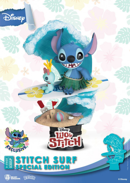 Disney Summer Series D-Stage PVC Diorama Stitch Surf Special Edition 15 cm