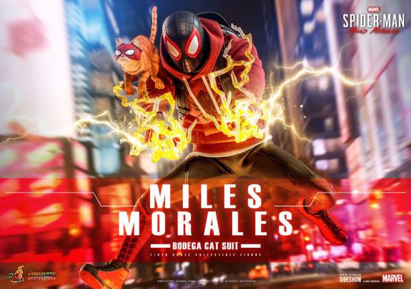 """Aus Hot Toys' luxuriöser """"Videogame Masterpiece""""-Reihe kommt diese großartige Figur aus dem Videospiel """"Marvel's Spider-Man: Miles Morales"""". Sie ist ca. 29 cm groß, trägt echte Stoffkleidung und kommt mit zahlreichen Austausch- und Zubehörteilen in einer"""