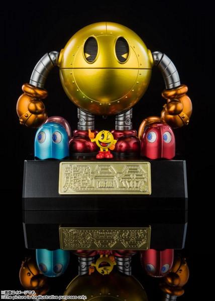 """Zum Arcade-Klassiker """"Pac-Man"""" kommt dieses großartige Diecast-Modell aus Tamashii Nations """"Chogokin""""-Reihe. Es ist ca. 11 cm groß und wurde aus Metall- und Kunststoffteilen gefertigt."""
