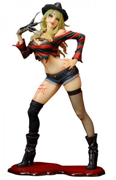 Aus Kotobukiyas beliebter ´Bishoujo´-Reihe kommt diese aufregende PVC Statue von Freddy Krueger.Die von Shunya Yamashita entworfene Statue ist ca. 18 cm groß.Die 2nd Edition kommt mit einer neuen Base und einer neuen Verpackung.
